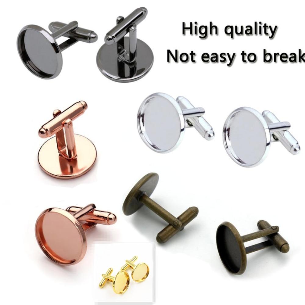 10pcs/ Lot 10mm 12mm,14mm,16mm,18mm,20mm, 6 Colors Plated Copper Cufflink Base Cuff Link Settings Cabochon Cameo Base