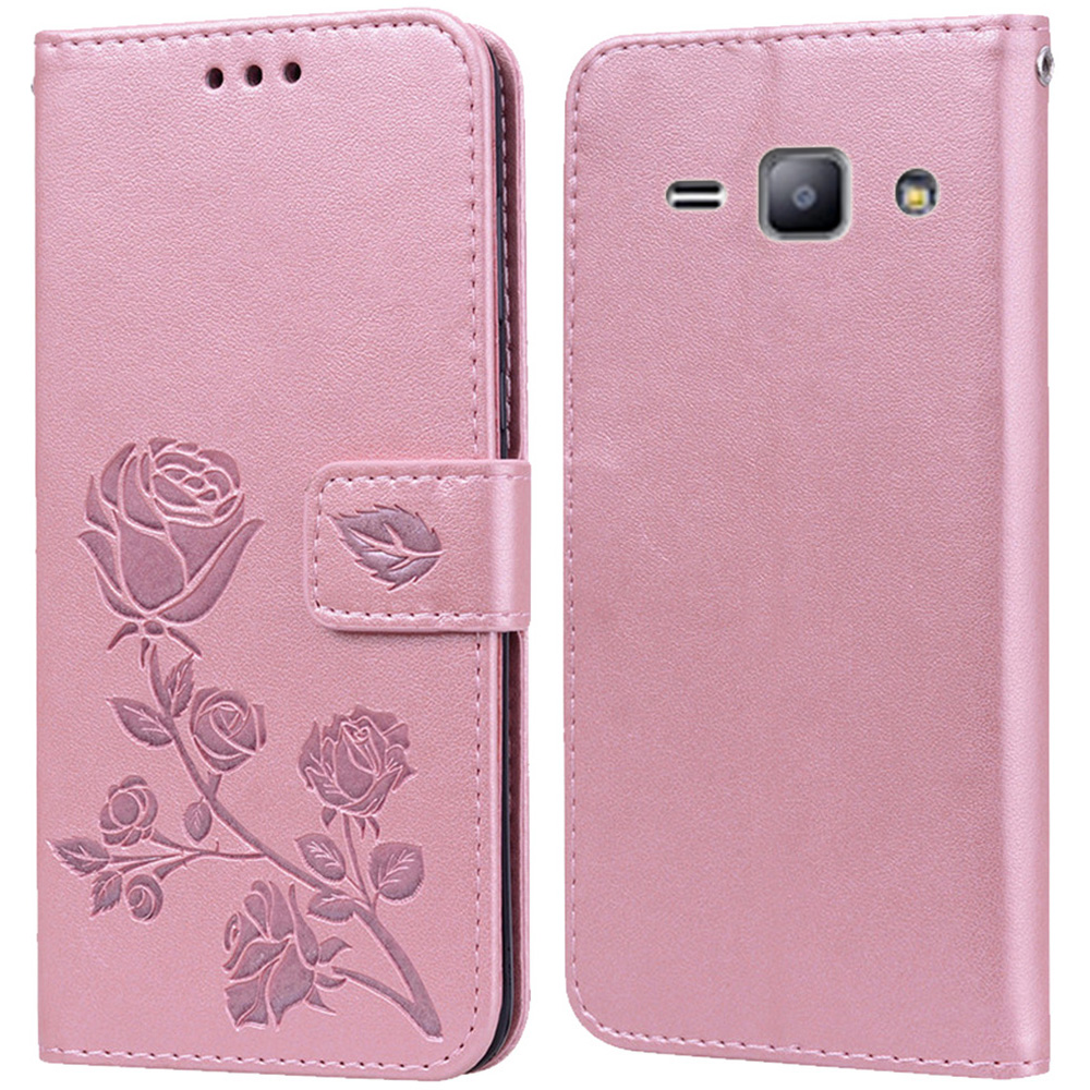 Luxury Leather Flip Book Case for <font><b>Samsung</b></font> Galaxy Star Advance Star 2 <font><b>G350E</b></font> SM-<font><b>G350E</b></font> Rose Flower Wallet Stand Case Phone <font><b>Cover</b></font> image