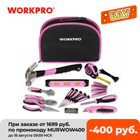 WORKPRO-Juego de Herramientas para mujer con bolsa fácil de llevar, conjunto de herramientas de mano de 103 piezas, kit de elementos para mantenimiento del hogar