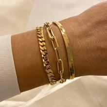 Bracciale a catena con graffetta colore oro cavo a maglie rettangolari in acciaio inossidabile Dainty Women Girls gioielli a strati