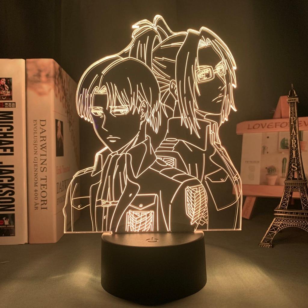 Ha78e372bf6bf4aec9045addd6ae638f5v Luminária Attack On Titan Shingeki no Kyojin Ataque em titan levi ackerman acrílico lâmpada 3d hange zoe para decoração do quarto de casa luz criança presente zoe hange led noite luz anime