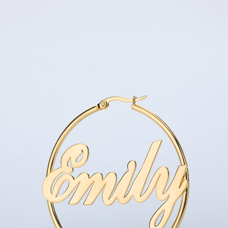 Custom Name Earrings Women Silver Gold Stainless Steel 1 Pair Personalized Big Nameplate Handmade Circle Oorbellen Party Gifts