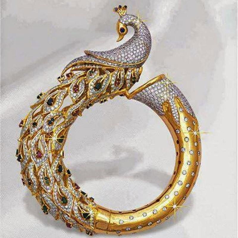 Modyle 2021 nouvelle mode plaqué deux couleurs alliage paon forme incrusté plein Zircon anneau femmes filles fête bijoux cadeaux