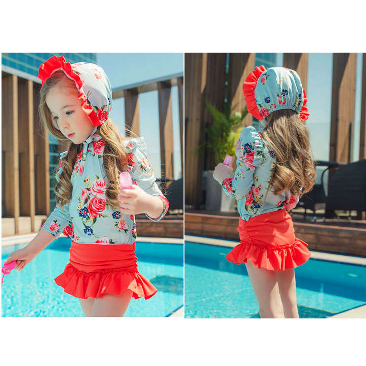 2019 New Style Korean-style KID'S Swimwear GIRL'S Split Skirt-Three-piece Set Tour Bathing Suit Swimming Cap Wechat Business