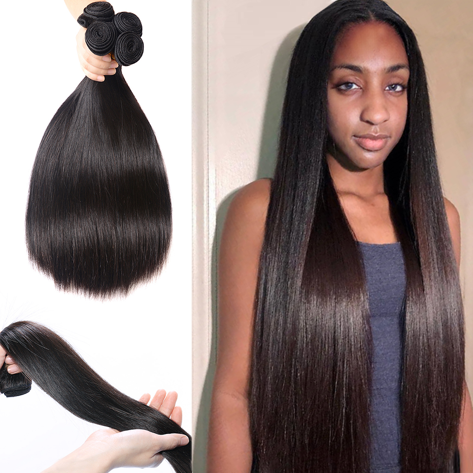 Fashow 32 34 36 40 Brazilian Hair 3 4 Bundles Straight Hair Double Wefts Natural Human Hair Bundles Remy Hair Weave Extensions