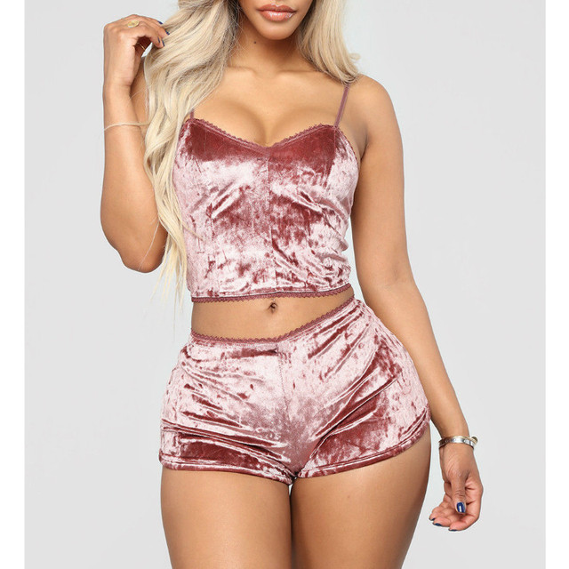 Fashion Women Solid Sleepwear Sexy Spaghetti Strap Shorts Pajama 2pcs Set Ladies Sleepwear female 3