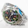 Роскошные 40 мм BLIGER большие красочные цифры часы циферблат керамический ободок Дата Лупа автоматическое движение Мужские наручные часы