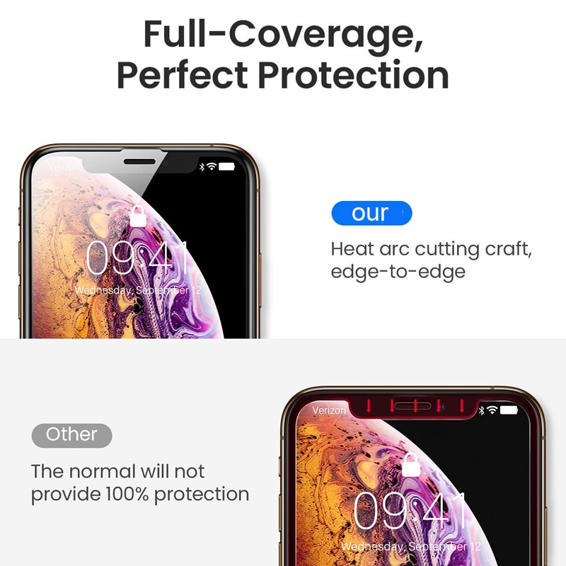 Oppselve Protective Glass on the For iPhone X Xs Max XR Tempered Screen Protector 10D Curved Edge Glass For iPhone 6 6S 7 8 Plus in Phone Screen Protectors from Cellphones Telecommunications