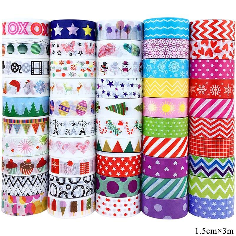50 Rolls/Set Kawaii Washi Tape Japanese Decoration Masking tapes Simple Adhesive Tape Kids Scrapbooking DIY Tapes 1.5cm*3m