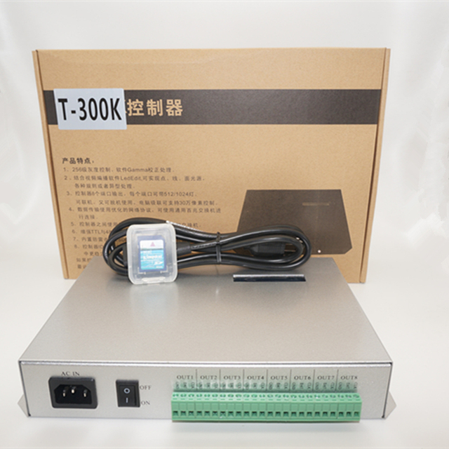 T300K SD Card online VIA PC RGB Full color led pixel module controller T 300K 8ports 8192 pixels ws2811 ws2801 ws2812b led strip