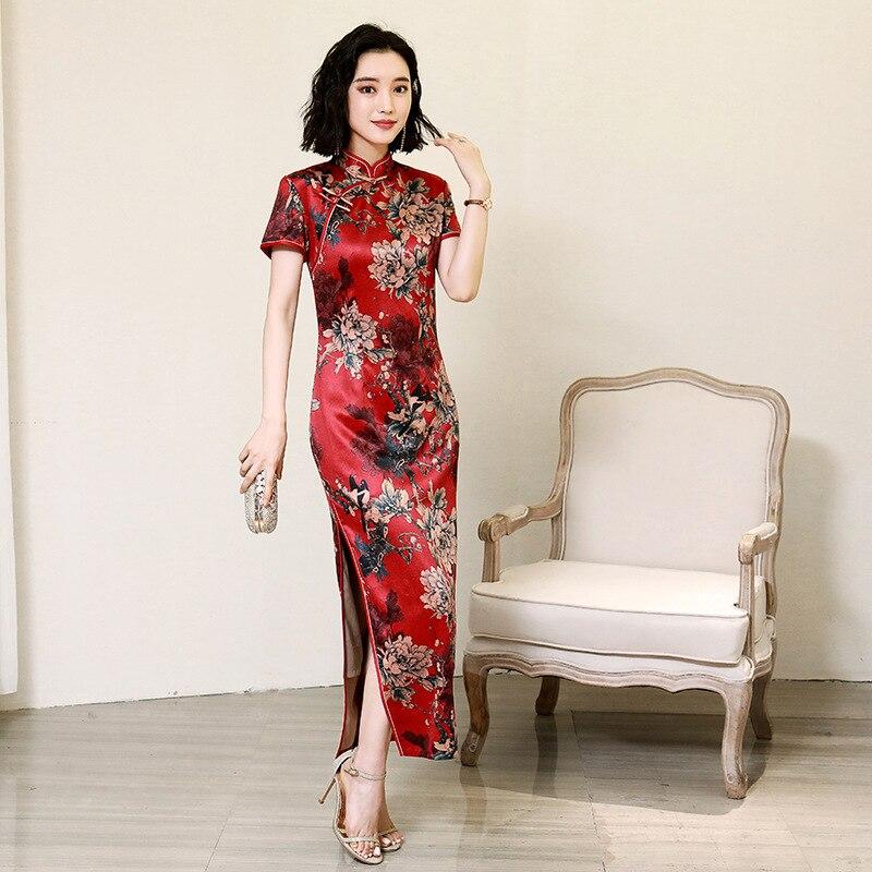 Rouge élégant dame robe de soirée de bal femmes traditionnelles col Mandarin Qipao Vintage impression fleur Cheongsam grande taille Vestidso