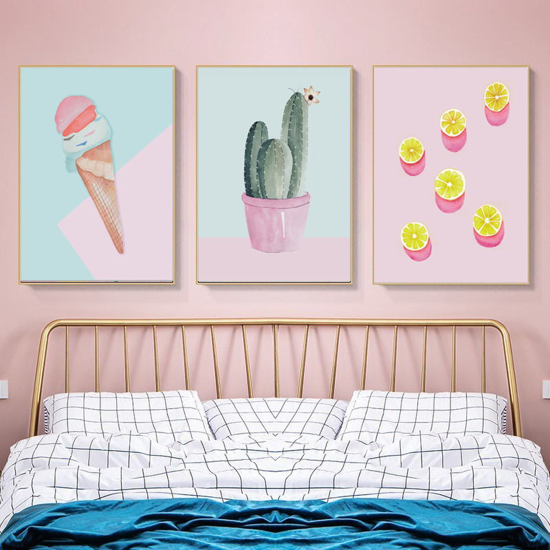 Lovely Pink Cactus Wall Canvas Pictures For Living Room Cartoon Nordic Style Ice Cream Poster Kids Room Nursery Decoration