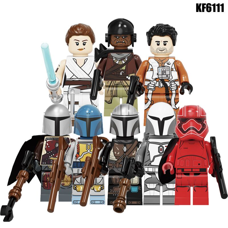 Building Blocks Wars Bricks Darth Vader Yoda Rey PoE Dameron Mandalorian Jango Fett Drabatan Figures For Children Toys KF6111