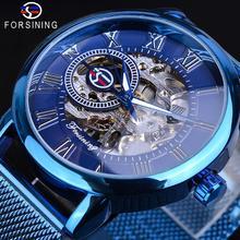 Forsining niebieski szkielet męski zegarek mechaniczny ręcznie wiatr Ultra cienkie szczupła analogowe siatki pasek stalowy mężczyzna dorywczo wojskowy zegarki sportowe