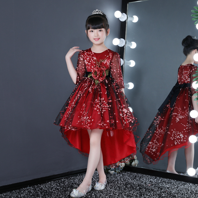 Wine Red Flower Girl Lace Long Dress 2019 New Girl Wedding Party Exchange Dress Ball Beauty Noblest Tails Dress