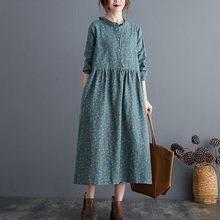 Women Cotton Linen Casual Long Dress New 2020 Autumn Vintage Floral Print Stand Collar Ladies Elegant A-line Dresses S2115