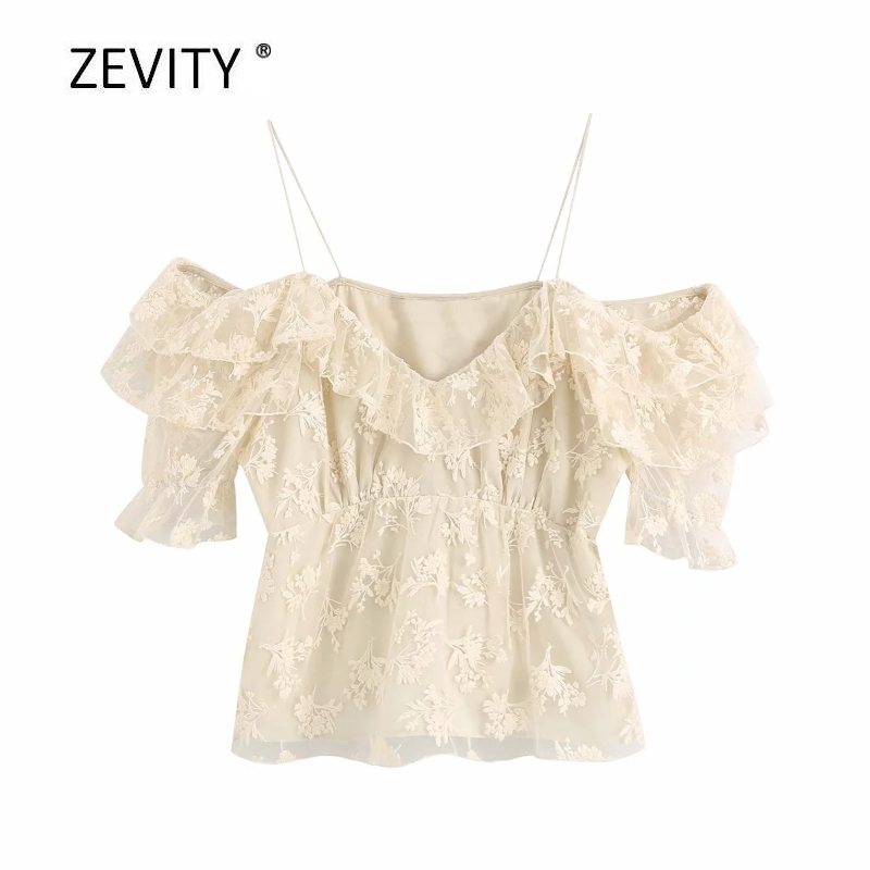 Zevity women fashion flower embroidery casual mesh blouse ladies chic cascading ruffle sling shirts pleats feniminas tops LS6816