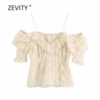 Zevity Women Fashion Flower Embroidery Casual Mesh Blouse Ladies Chic Cascading Ruffle Sling Shirts Pleats Feniminas Tops LS6816