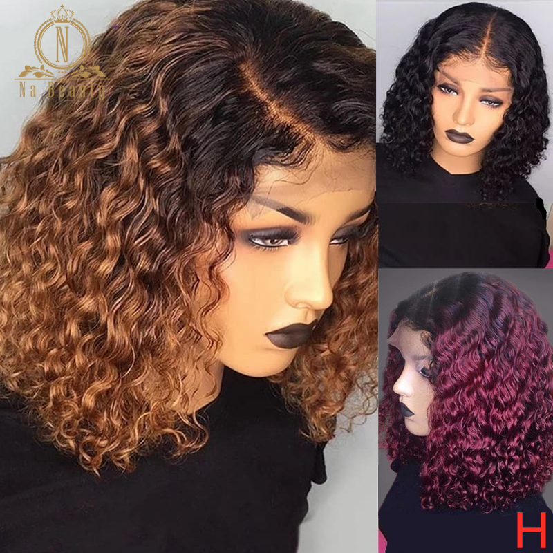 Ombre Colored Curly Bob Wig Short Human Hair Wigs For Black Women Blonde Burgundy 13x6 Lace Front Human Hair Wig Nabeauty 180