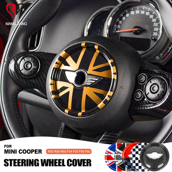 Steering Wheel Center Panel 3D Dedicated Car Sticker Decal Cover Sticker case for MINI COOPER F54 F55 F56 F60 Countryman Clubman 9 options super inner accessories for mini cooper f54 f55 f56 f60 union jack carbon fiber interior steering wheel center cover
