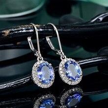 Huitan Luxury Women Drop Earrings Oval Blue CZ Noble Lady's Accessories Party Elegant Female Earrings Daily Wear Fashion Jewelry