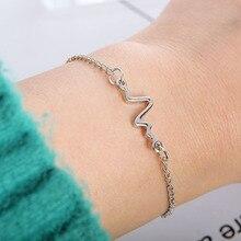 Fashion Women Couple Bracelets Mens Jewellery Sweat Love Heart Beat Fine Chain Wave Electrocardiogram Wristband