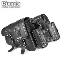 BJMOTO Universal Motorcycle Saddle Bag PU Leather Side Tool Bags Motocross Saddlebags For KTM Kawasaki Honda/Yamaha/Suzuki