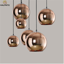 Rope plated Glass Ball Pendant Lights Hanging Lamp Fixture Lustre Restaurant Luminaire Light Home Globe Lampshade Pendant Lamp modern led lustre pendant light white fixture suspension luminaire disign for restaurant with lampshade wine glass hanging lamp