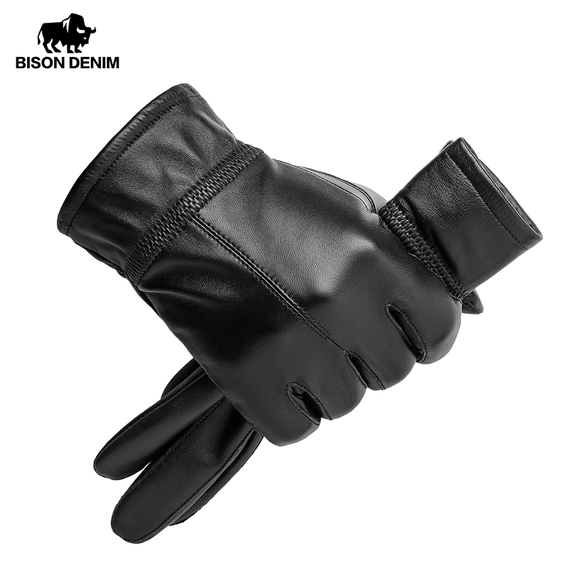 BISON DENIM Winter Warm Genuine Sheepskin Leather Gloves Outdoors Full Finger Black Windproof Waterproof Gloves For Men S003