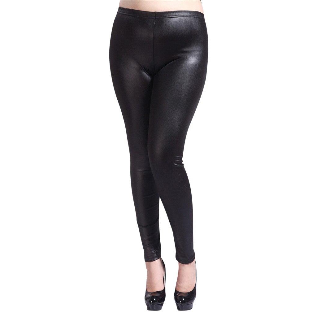 Fashion Leggings Women Spring Autumn Imitation Leather Pants Extra Large Size Leggings Trousers Women's Clothing Drop Shipping