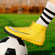 Men Football Boots Soccer Cleats Boots TF Spikes Ankle High Top Training Sneakers Grip Soft Outdoor Turf Futsal Soccer Shoes Men sufei men football boots tf high ankle superfly soccer shoes turf cheap sock cleats kids futsal sport training sneakers