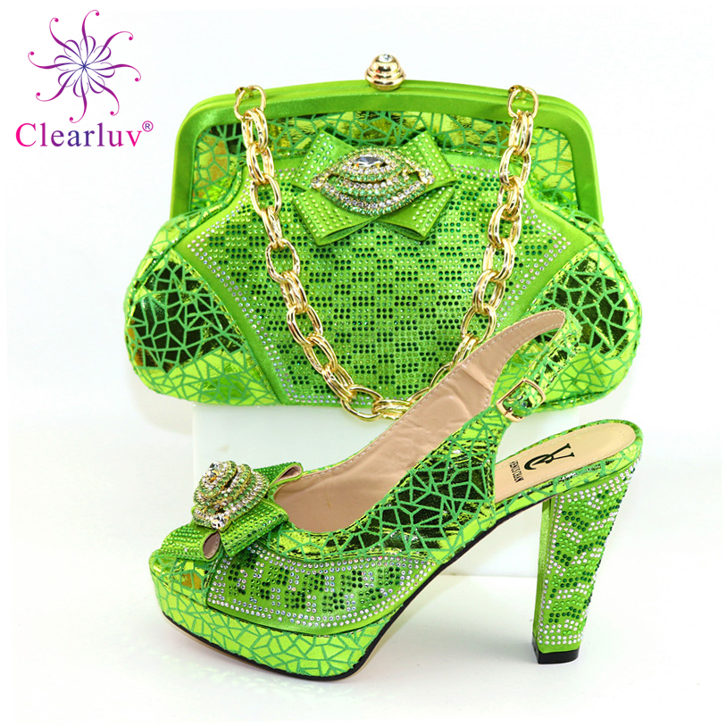 Square Heels New Design Shoes And Bag Set In Green Color Top Sell Fashionable Italian Lady Shoes And Bag Set For Wedding