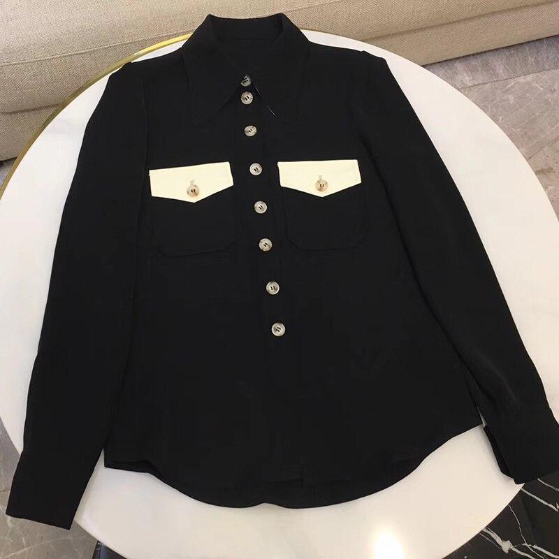 Femmes noir à manches longues petit haut de bureau dame femmes hauts et chemisiers noir 2019 printemps chemise