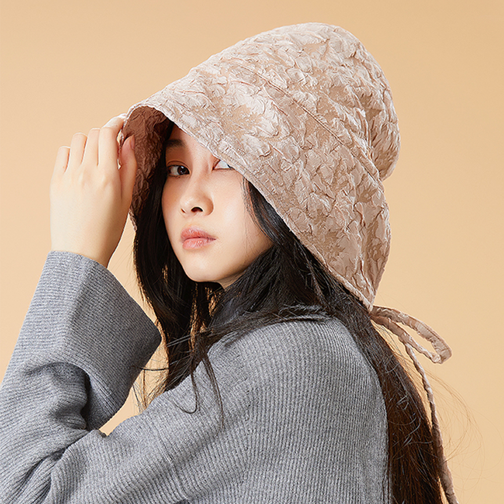 OhSunny Spring Fashion Women Bucket Hat New Embossing Print Big Brim Antistatic Warm Sun Hat Outdoor Sports Travel Caps