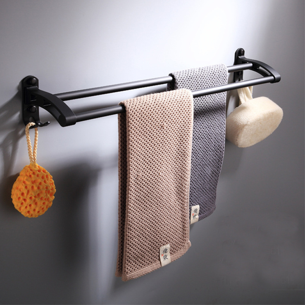 Black double towel rack space aluminum hanging towel bar European 59cm For Bath