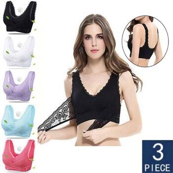 3pcs/set Push Up Bras for Women Lace Solid Color Cross Side Buckle Wireless Plus Size Women Sleep Bra Soft Bralette Top