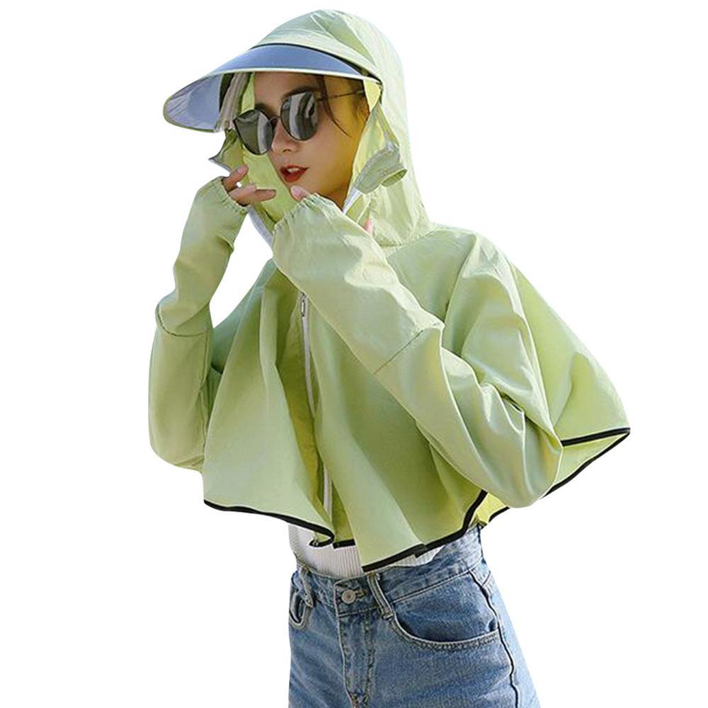 Womens Summer Breathable Hooded Sun-protective Coat Anti-UV Cycling Beach Jacket