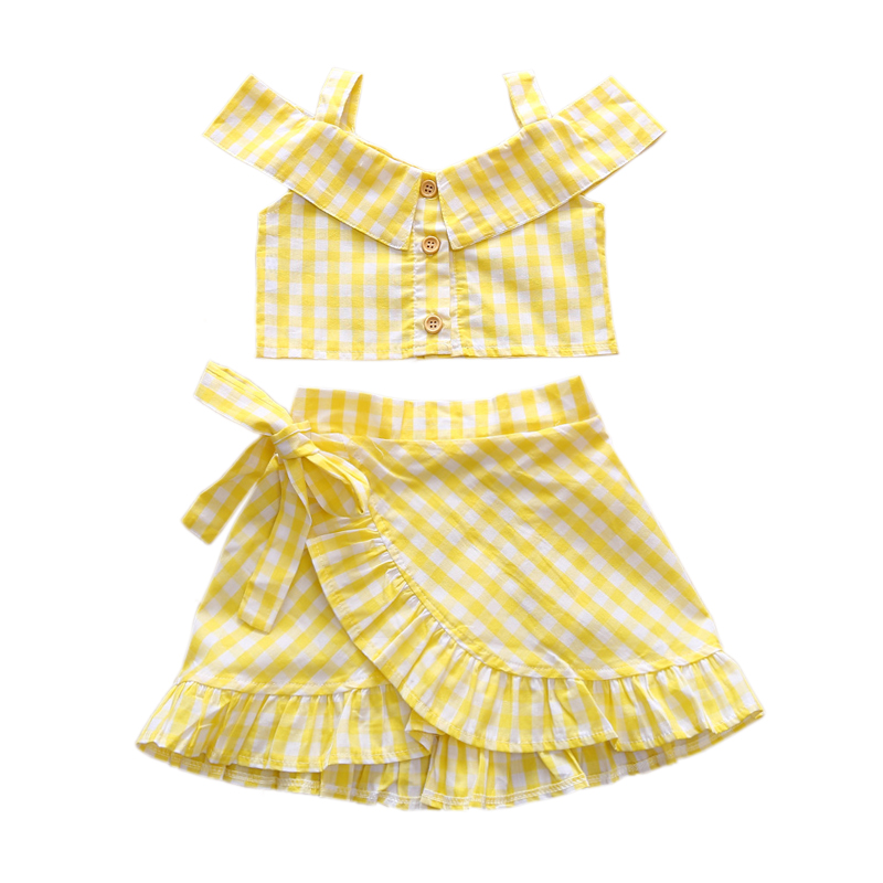 Flofallzique Yellow Plaid Girl Suit Top And Skirt Cute Sweet Party Casual Outdoor Clothes