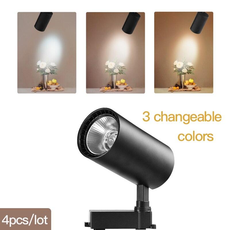 COB светодиодный Трековый светильник 220V 12/20 Вт, 30 Вт, 40 Вт регулируемый Точечный светильник Алюминий потолочный рельсы для Кухня магазин - Испускаемый цвет: 3 Emitting Colors