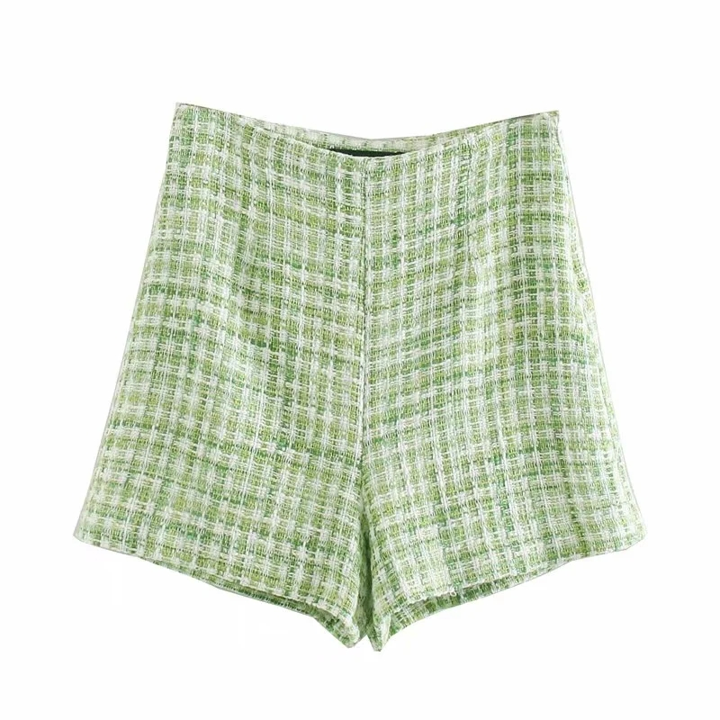 Vintage Women Green Plaid Shorts 2020 Summer Fashion Ladies Soft Tassel Tweed Shorts Party Female Casual Shorts Girls Chic