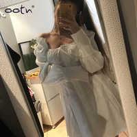 Casual Langarm Kleid Weibliche Square Neck Weiß Mini Kleid Frauen Sexy Kurze Tunika Hemd Kleider Rüschen Herbst Vestidos Plus größe