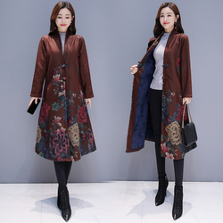 Autumn and Winter 2019 National Wind Printed Wool Fabric with Fleece Thickening Mid-long Outerwear Windswear Female China Style