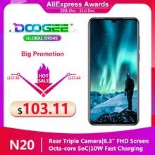 "Doogee N20 Smartphone 6.3 ""FHD + Waterdrop écran 16MP Triple arrière caméras 4350mAh 4GB + 64GB Octa Core empreinte digitale 4G téléphone portable"