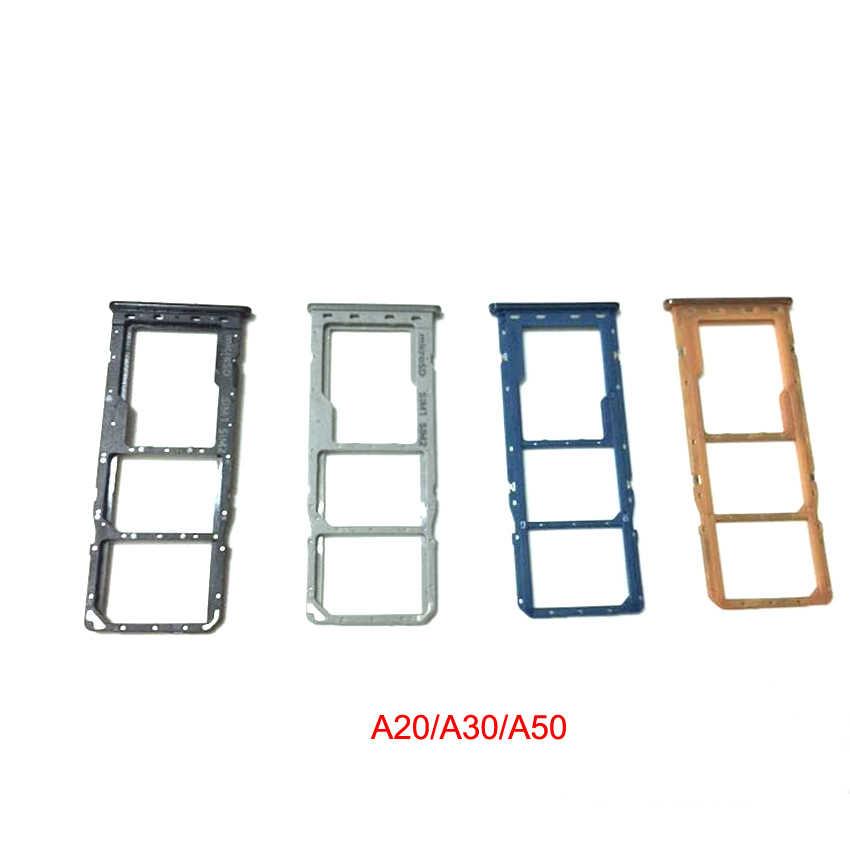 Sim מגש מחזיק לסמסונג גלקסי A10 A105F A105 A20 A205 A30 A305F A50 A505F A20S A21S A21 ה-SIM כרטיס מגש חריץ תיקון חלק