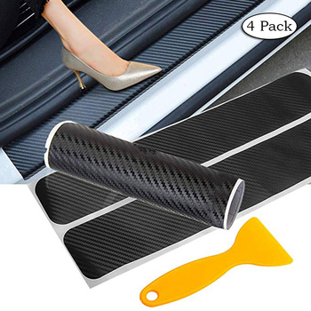 Car Auto Carbon Fiber Door Sill Anti-Scratch Sticker for Mercedes W204 W210 AMG Benz Bmw E36 E90 E60 Fiat 500 Volvo S80 image