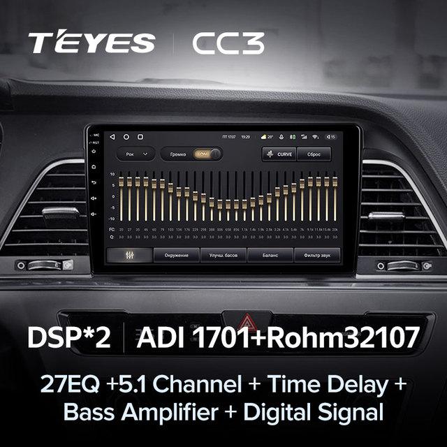 TEYES CC3 Штатная магнитола For Хендай Соната 7 LF For Hyundai Sonata 7 LF 2014 - 2017 до 8-ЯДЕР, до 6 + 128ГБ 27EQ + DSP carplay автомагнитола 2 DIN DVD GPS android 10 мультимедиа автомобиля головное устройство 4