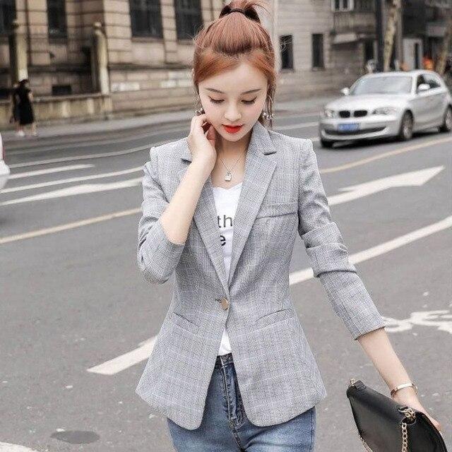 PEONFLY Vintage Single Button Office Ladies Plaid Blazer Casual Korean Style Long Sleeve Coat Jacket Women Blazers Female 5