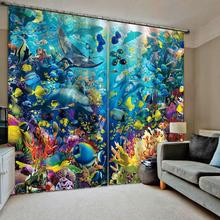 Blue ocean curtains kids curtain Bedroom 3D Window Curtain Luxury living room decorate Cortina