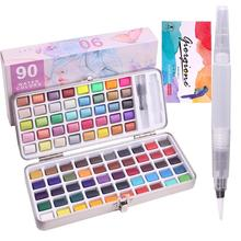 UP TO 120 Colors Solid Watercolor Painting Set Including Water Brush Fluorescent Macaron Metallic Color Art Supplies