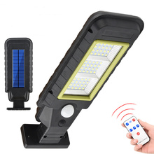 Solar Street Light with Motion Sensor Remoted Controls LED Outdoor Waterproof Lamp for Garden